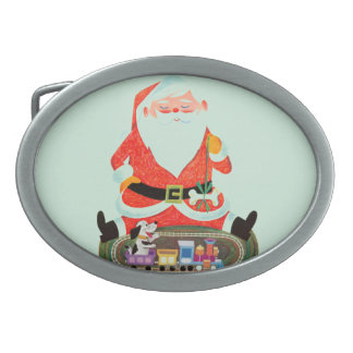 Santa with Train Belt Buckles