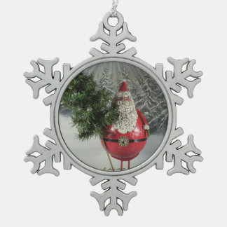 Santa With Tree Snowflake Pewter Christmas Ornament
