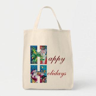 SANTA  WITH VIOLIN  AND CHRISTMAS TREE H MONOGRAM GROCERY TOTE BAG