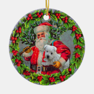 Santa with Westie Ornament
