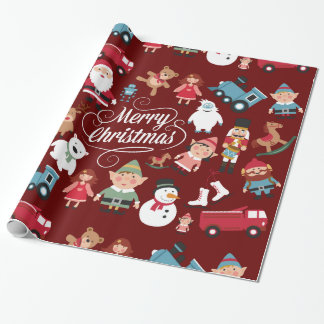 Santa Workshop Toys Elves Christmas Wrapping Paper