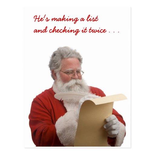 Santa writing Naughty & Nice List Postcard