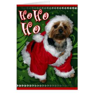 Santa Yorkie Greeting Card