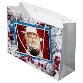Santa / YOUR PHOTO large Christmas gift bag
