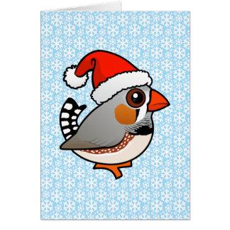 Santa Zebra Finch Card