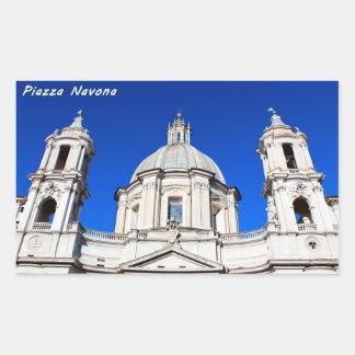 Santagnese in Agone Church in Piazza Navona, Rome Rectangular Sticker