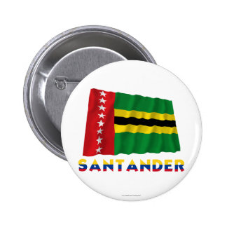 Santander Waving  Flag with Name 6 Cm Round Badge
