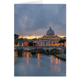 Sant'Angelo bridge Saint Peter Basilica Rome Italy Card