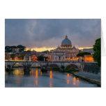 Sant'Angelo bridge Saint Peter Basilica Rome Italy Greeting Card
