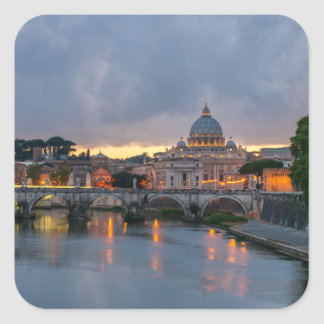Sant'Angelo bridge Saint Peter Basilica Rome Italy Square Sticker