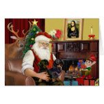 Santa's 2 Dachshunds (b-t) Greeting Card