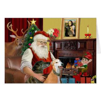 Santa's 2 Greyhounds Greeting Cards