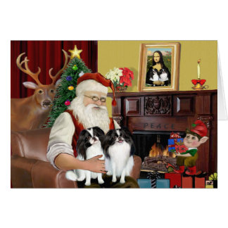 Santa's 2 Japanese Chin Card