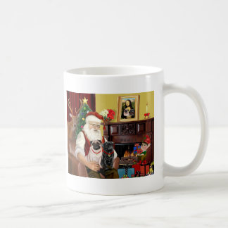 Santa's 2 Pugs (fawn + black) Coffee Mug