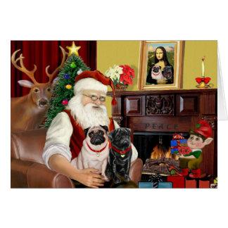 Santa's 2 Pugs (fawn + black) Greeting Card