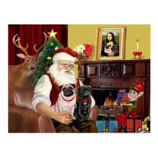 Santa's 2 Pugs (fawn + black) Postcard