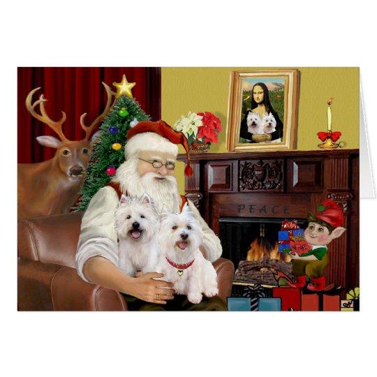 Santa's 2 Westies Card