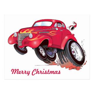 Santa's 39 Chevy postcard