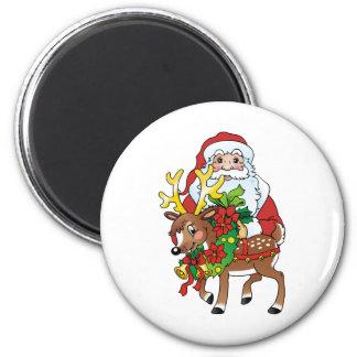 Santas 6 Cm Round Magnet