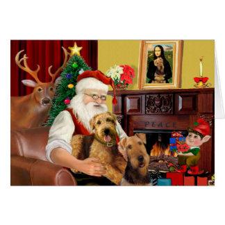 Santa's Airedales Card