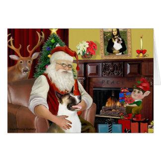 Santa's Akita (brown and white) Card