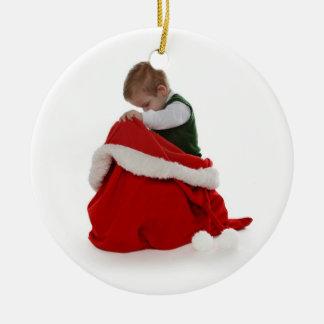 Santa's Bag Round Ceramic Decoration