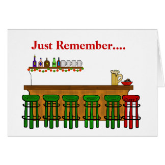 Santa's Bar Stool Funny Christmas Card
