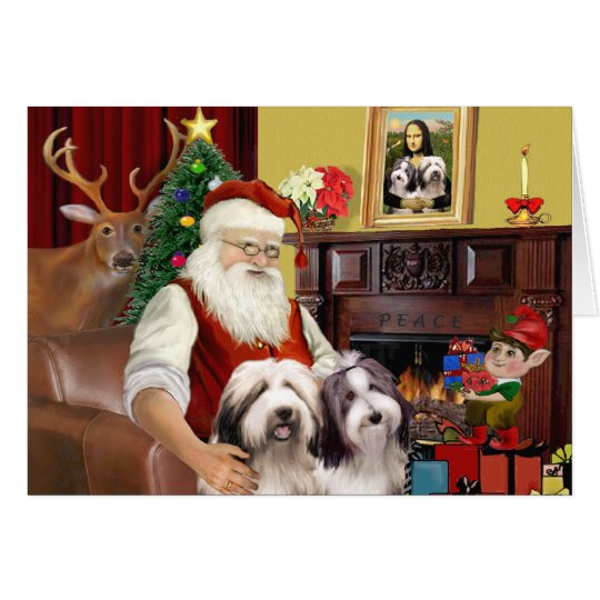 Santa's Bearded Collie Card