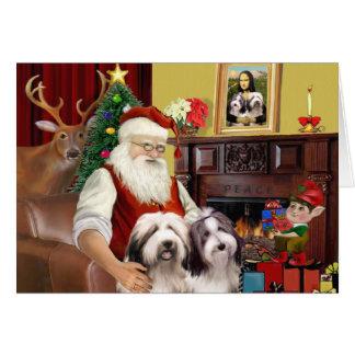 Santa's Bearded Collie Greeting Card