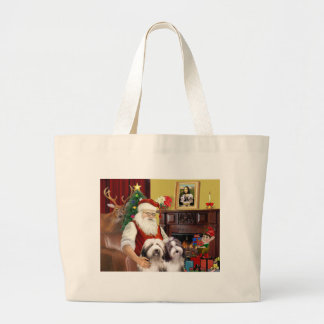 Santa's Bearded Collie Large Tote Bag