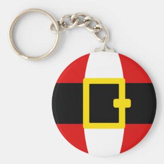 Santa's Belly Belt Christmas Day Design Basic Round Button Key Ring
