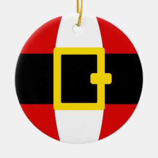 Santa's Belly Belt Christmas Day Design Double-Sided Ceramic Round Christmas Ornament
