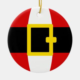 Santa's Belly Belt Christmas Day Design Round Ceramic Decoration