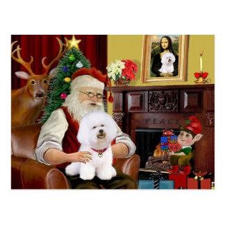 Santa's Bichon Frise (#1) Postcard