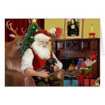 Santa's black / tan  Dachshund (#16) Greeting Card