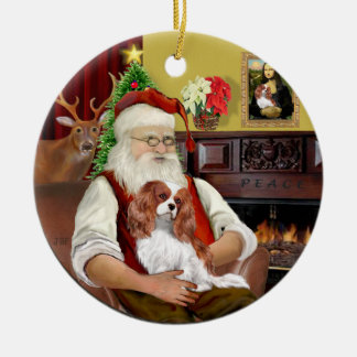Santa's Blenheim Cavalier Round Ceramic Decoration