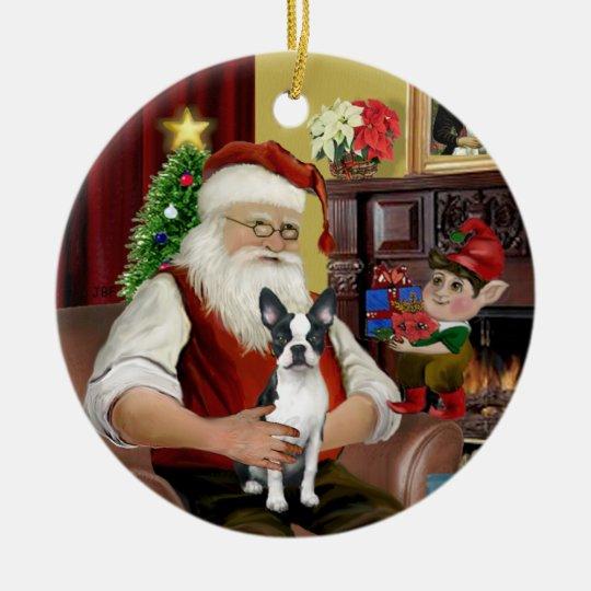 Santa's Boston Terrier #1 Christmas Ornament