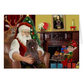 Santa's Brindle Cairn Terrier Card