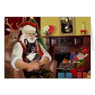 Santa's Brindle French Bulldog Card