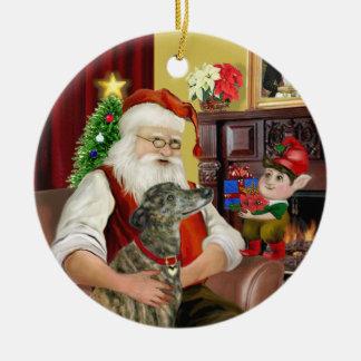 Santa's Brindle Greyhound Round Ceramic Decoration