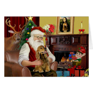 Santa's Brown Cocker Spaniel Card