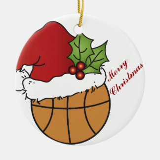 Santa's Christmas Hat on a Basketball Christmas Ornament
