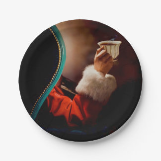Santa's Coffee Break Vintage 7 Inch Paper Plate
