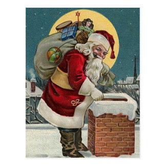 """Santa's Coming down the Chimney"" Postcard"