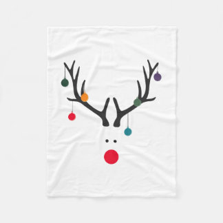 Santa's cute reindeer Rudolph's head on white Fleece Blanket