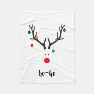 Santa's cute reindeer Rudolph's head on white text Fleece Blanket