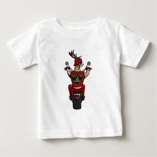 Santa's deer riding a bike baby T-Shirt