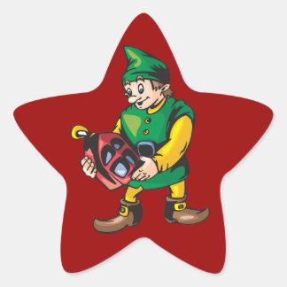 Santas Elf and Lantern Star Sticker