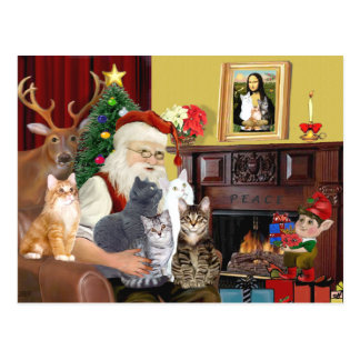 Santa's Five Cats Postcard