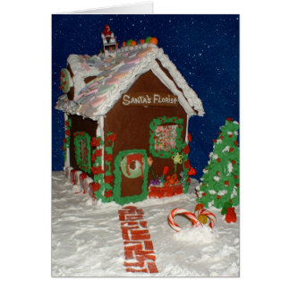 Santa's Florist Gingerbread House Card